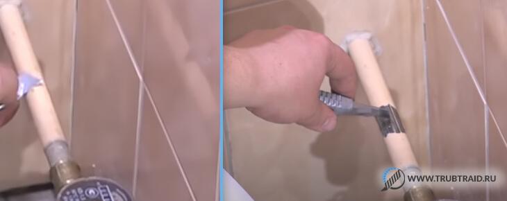 Очищаем часть трубы от краски для врезки